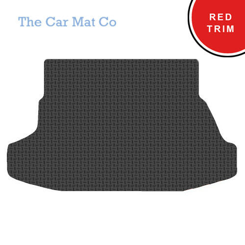 Hyundai Coupe 2002-2009 Fully Tailored Black Rubber Boot Mat With Red Binding
