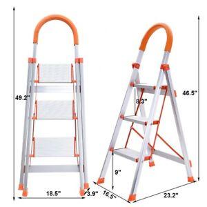 Non-slip 3 Step Aluminum Ladder Folding Platform Stool 330 lbs Load Capacity New