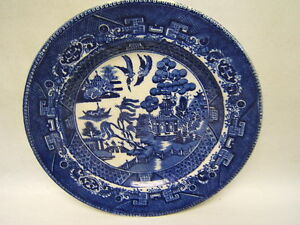 Hulz-Adderley-Circa-1869-Blue-Willow-China-Plate-8-1-4-England-GUC