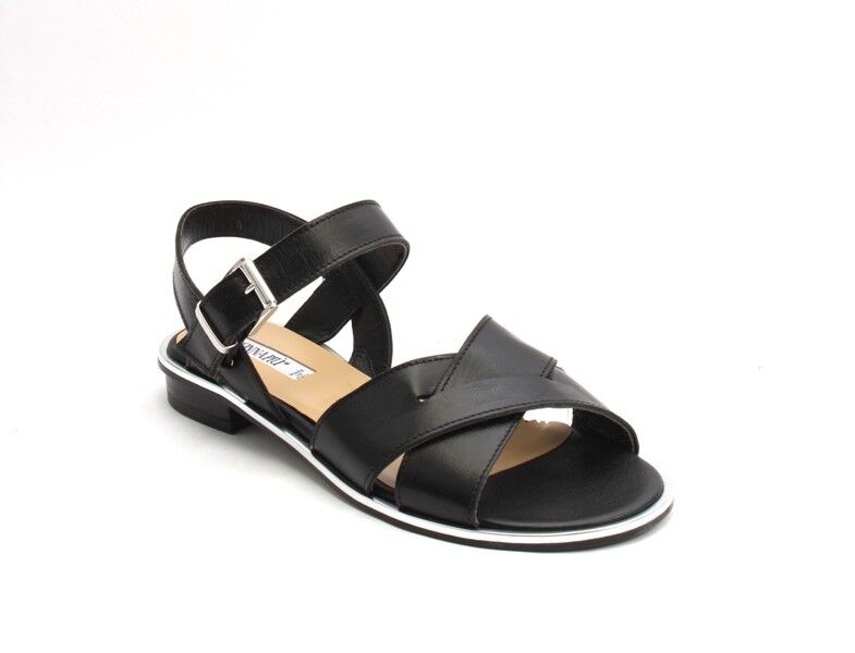 women Piu 53036c Black Silver Leather Comfort Strappy Strappy Strappy Flats Sandals 41   US 11 526746