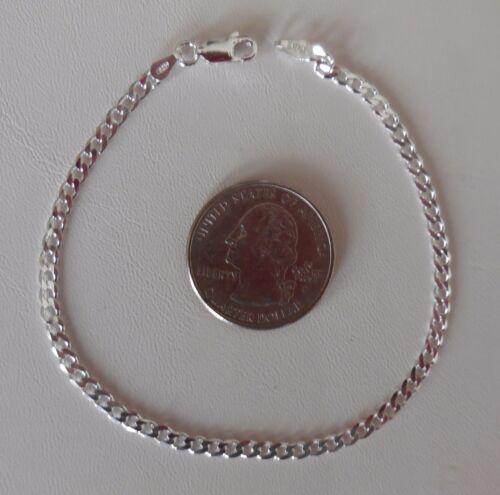 925 Sterling Silver Curb Link Chain Bracelet 080 gauge 3 mm 7//8//9 inch