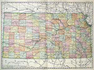 1898 KANSAS, RAND MCNALLY ANTIQUE LARGE DETAILED MAP | eBay on