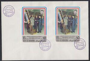 1972-Ras-al-Khaima-FDC-Visit-of-Pompidou-Cape-Kennedy-Space-Weltraum-brd731