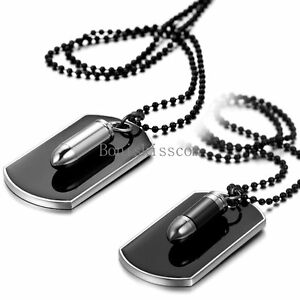 Men-039-s-Stainless-Steel-Black-Bullet-Dog-Tag-Pendant-Necklace-w-Bead-Chain