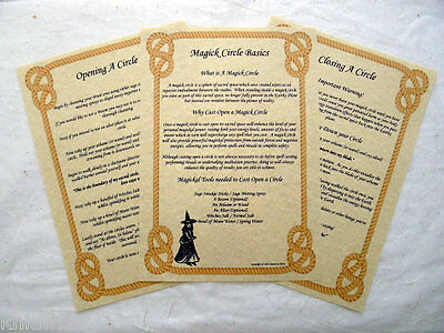 The Magick Circle Parchment poster wicca pagan book of shadows pages BOS opening
