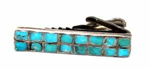 a0f7a625a059 Image is loading Vintage-1950s-Modernist-ZUNI-Sterling-Silver-TURQUOISE -Inlay-