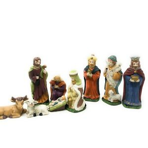 Nativity Set 9Pc Porcelain Painted Jesus Mary Joseph Wisemen Shepard
