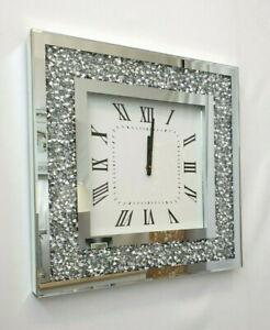 Gatsby Modern Strass Kristall Juwelen Spiegel Glas Eckig Wanduhr 50cm Silber