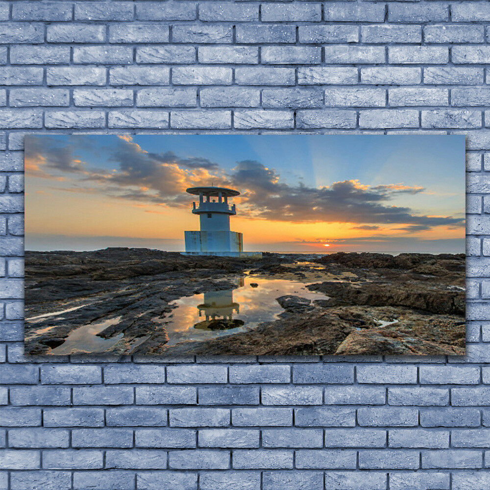 Glass print Wall art 140x70 Image Picture Lighthouse Landscape