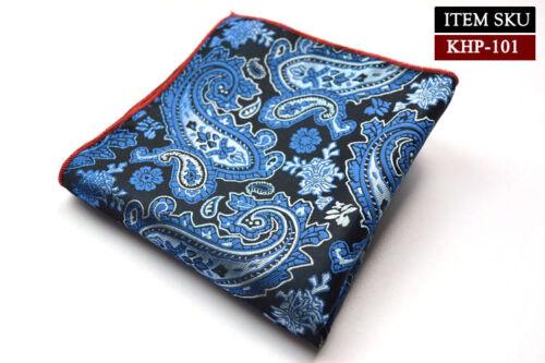 """Factory 10/"""" Men Silk Handkerchief Pocket Square Paisley Wedding Hanky 9 Colors"""