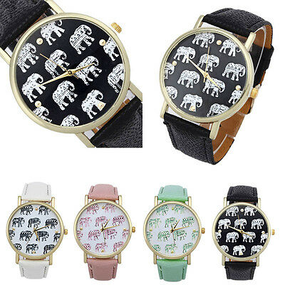 Girl Watches Elephant Pattern Faux Leather Band Analog Quartz Dial Wrist Watch