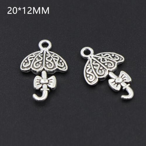 20//70PCS Tibetan Silver Umbrella Charms Pendant Crafts Necklace Beads 20*12MM