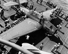WWII B&W Photo TBF Avenger on Carrier Deck  WW2  / 5160  NEW