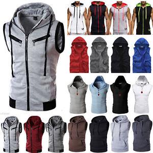 Mens-Gym-Hoodies-Shirt-Muscle-Sleeveless-Tank-Top-Bodybuilding-Fitness-Vest-US