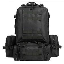 65L BLACK MOLLE TACTICAL MILITARY Assault Backpack Rucksack Bag Hiking NEW