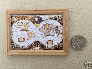 Dolls House Miniature Picture Old Style World Map Wood Frame