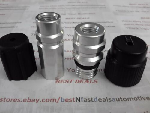 04 pcs A//C Service Ports// Adapters OE Style w// Ball Valves GM//Ford Low /&Hi Side
