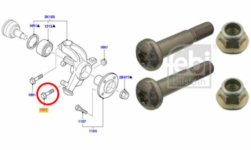 FEBI Set of 2x Front Knuckle Suspension Arm Pinch Bolts  for Ford Focus
