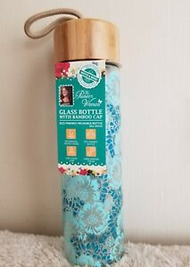 e4774d068fcd Details about The Pioneer Woman Glass Water Bottle Teal Floral 20 oz Bamboo  Lid NEW