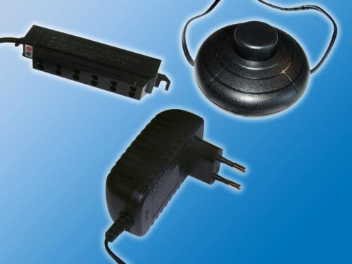 Steckernetzteil 12VDC0,4A4,8WFußschalter6-fach AMP VerteilerS.2