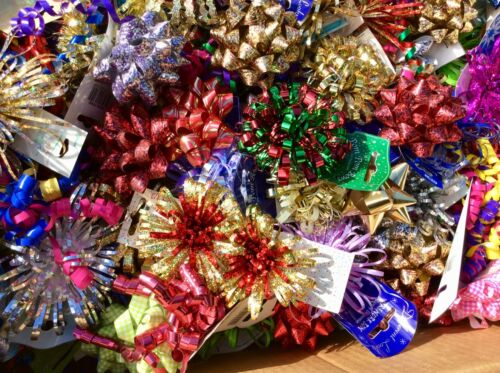 50 GIFT DECORATION BOWS HAMPERS RAFFLE PRIZES WRAPPING PARCELS CRAFTS MIXED