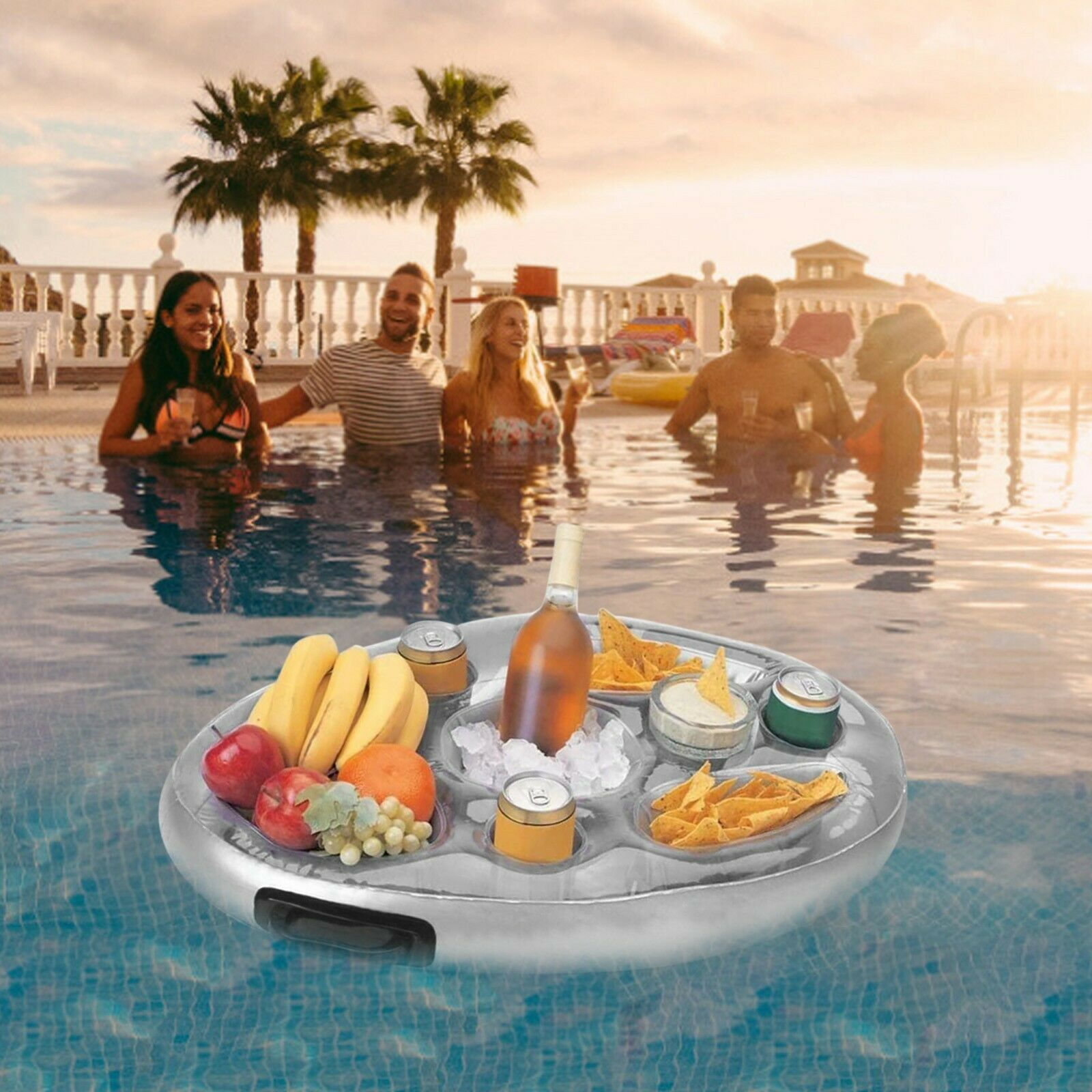 Party Bucket Cup Holder Inflatable Pool Float Beer Drinking Cooler Table Bar Can