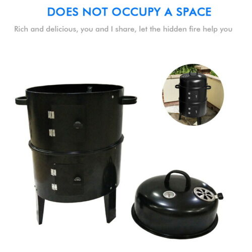 3 in 1 Charcoal Barbecue Smoker Outdoor Garden BBQ Grill Camping /& Temperature