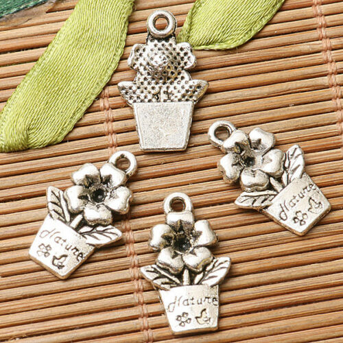 8pcs dark silver color flower  design charms  EF2845