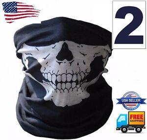 2 ghost biker skull hood face mask motorcycle ski. Black Bedroom Furniture Sets. Home Design Ideas
