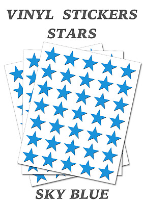 50 White Star Merit Stickers Self Adhesive Vinyl Labels size 15mm each