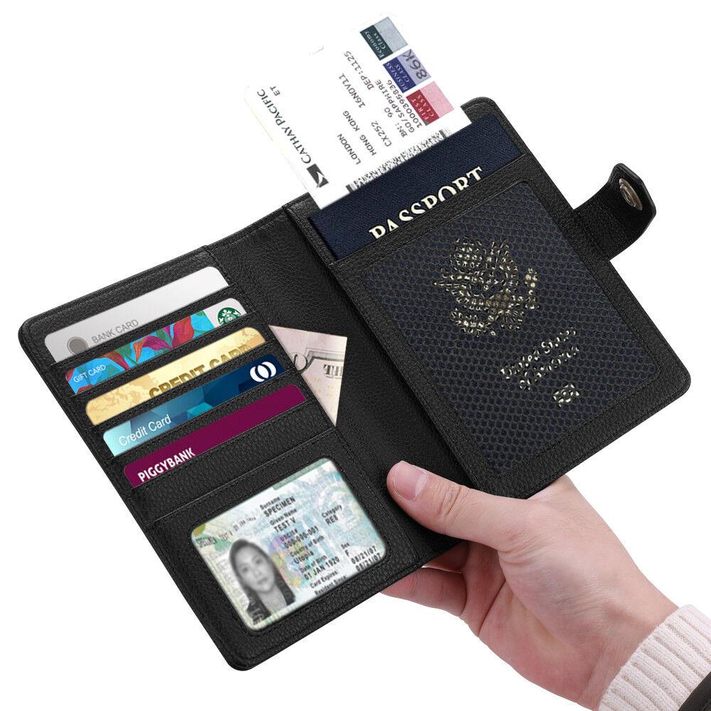 Vegan Leather Passport Holder Case RFID Blocking Travel Wallet Snap Cl... - s l1600