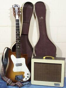 VINTAGE 1965 60s KAY K-100 VANGUARD ELECTRIC GUITAR w/CASE & 703C AMP AMPLIFIER