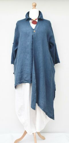 Lagenlook Pockets denim Linen To 2 Oversized Blue Up Tunic bust Irregular 54