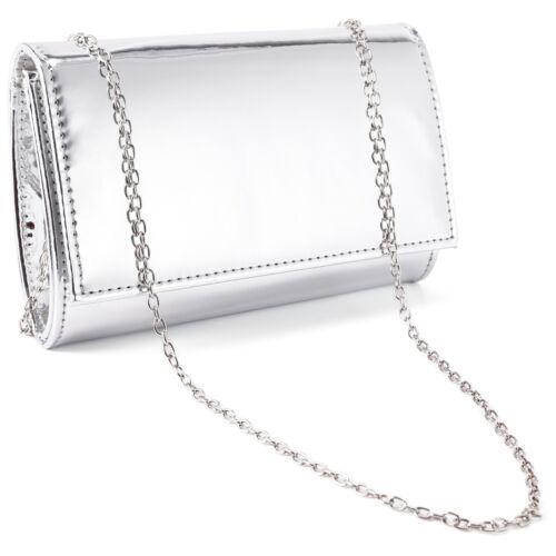 Schicke Damen Umhängetasche Handtasche Clutch Abendtasche mit Kette