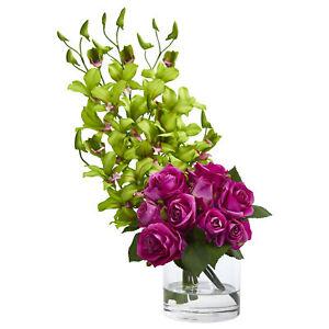 Artificial 20 Roses Dendrobium Orchids Flower Arrangement In Glass Vase Ebay