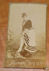12845/ Antique 1880s ~ Honest Long Cut Tobacco CIGAR Card ~ Risque Robust Lady