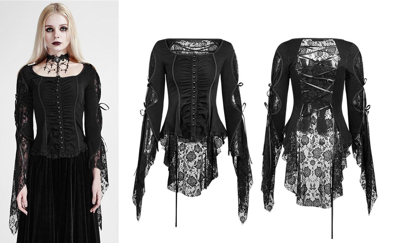 Punk Rave Gothic Blause Lolita Shirt Steampunk Spitze Victorian Lace Cosplay y683