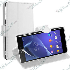 Etui-Housse-Coque-Pochette-Portefeuille-Support-Video-Cuir-BLANC-Sony-Xperia-M2