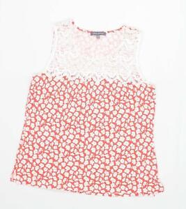 Laura-Ashley-Womens-Size-14-Floral-Cotton-Blend-Red-Blouse-Regular