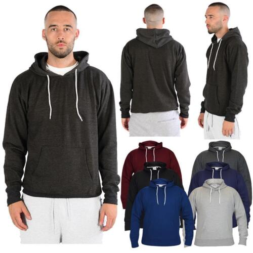 Men/'s Boys Fleece Plain Hoodie Sweatshirt Hooded Pull over Casual Gym Adult Top