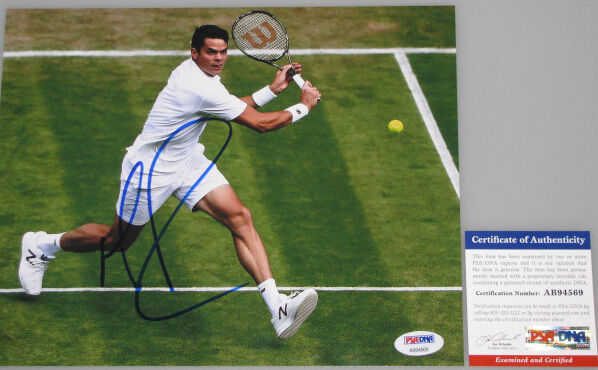 MILOS RAONIC Hand Signed 8'x10' Photo + PSA DNA COA  BUY GENUINE