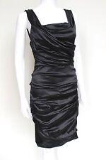 Dolce & Gabbana Black Satin Ruched Pleated Dress 42 uk 10