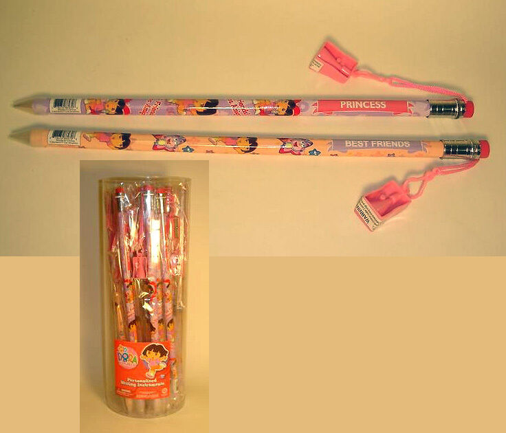 24 GIANT Dora the Explorer JUMBO Pencils with Sharpeners
