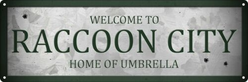 Metal Sign Welcome to Raccoon City 30,5 x 10,1 cm