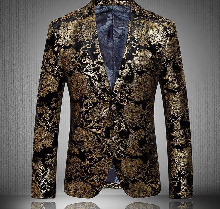 Mens Floral Lapel Slim Fit High Quality Fashion Formal Blazer gold Coats 4XL New