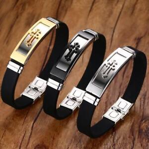 Adjustable-Cross-Men-Bracelet-Silicone-Bangle-Christ-Prayer-Stainless-Steel-Gift
