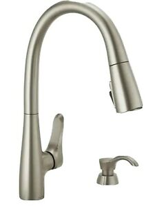 Delta Dunsley Spotshield Stainless 1 Handle Deck Mount Pull Down Kitchen Faucet Ebay