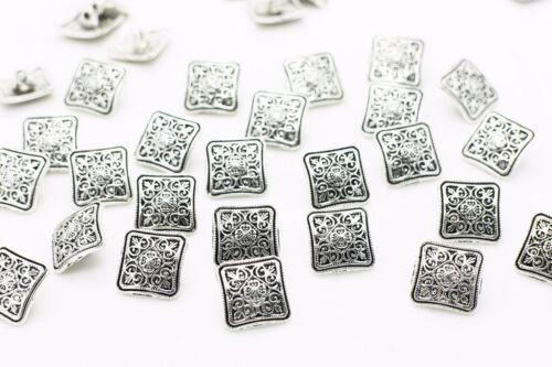 Silver BOHO Square Metal Shank Sewing Button 13mm 50pcs