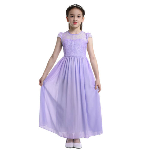 US Girls Formal Party Long Dress Flower Wedding Bridesmaid Communion Gown Prom