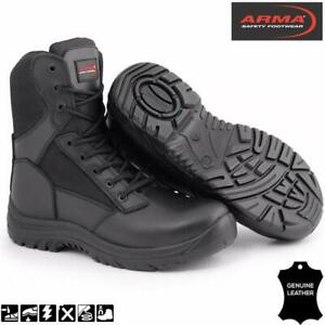 SIA-Mens-Tactical-Safety-Toe-Police-Combat-Leather-Zip-Black-Arma-Warrior-Boots